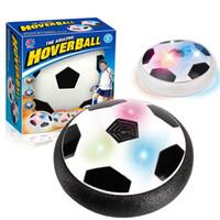 juguete flotante al por mayor-Luz LED Intermitente Pelota de Fútbol Juguetes de Fútbol Juegos de Novedad Hovering Air Power Disc Deslizamiento Juego de Juguete para Niños Chidren