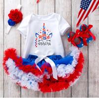 ingrosso tutu onesie-DHL 2019 Happy Unicorn Baby Infant 4 luglio Outfits Tutina + gonna Tutu + Fascia + scarpe 4 pezzi / set Giorno dell'Indipendenza Hotsale Nuovo arrivo