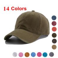 chapéus de beisebol de cor sólida venda por atacado-Chapéus de Beisebol de Algodão lavado 14 Cores Verão Ao Ar Livre Snapback Chapéus Cor Sólida Tampas Viseira OOA6787