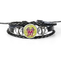 Wholesale gemini sign for sale - Group buy 12 Zodiac Sign Horoscope Gemini Time Gem Glass Cabochon Leather Rope Beaded Bracelet For Men Vintage Charm Female Male Jewelry New Gift