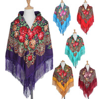 Wholesale big size scarves resale online - HOT Sale Russian Brand Big Size Square Scarf Cotton Long Tassel Scarf Spring Winter Shawl Women Floural Female Cape Lic