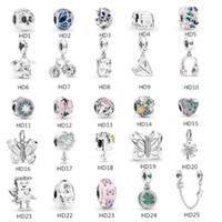 pandora venda por atacado-S925 Sterling Silver bead Serve Para Pandora Pulseira para fazer jóias de Cristal Dangle Borboleta Beads Encantos Para Cadeia Cobra Europeia Moda 2019
