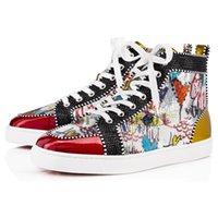 partiler erkekler için başında toptan satış-Kutu ile Womens Casual Ayakkabı Tercih Lüks Parti Ayakkabı Spike Kırmızı Alt Sneaker Düz Erkek Yüksek Üst Dantel-up Moda Düğün Hedi ...
