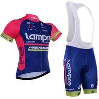 merida giysileri toptan satış-2018 Takım Pro Lampre Merida Bisiklet Jersey Seti Ropa Ciclismo Skinsuit Bisiklet Jersey + Tmb Bisiklet Önlüğü Şort Bisiklet Setleri Giyim Fabrika
