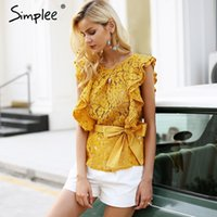 rote ärmellose bluse großhandel-Simplee Sexy Backless Ruffle Lace Bluse Frauen Sleeveless Belt Sommer Bluse Female Top Elegant Red Tansparent Bluse Shirt Y19050501