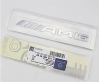 feuilles d'autocollants en aluminium achat en gros de-Haute qualité ABS Argent Chrome Noir 3D AMG 4MATIC voiture Decal Autocollant de logo Emblem Badges pour Mercedes CL GL SL ML Une classe B C étiquette d'origine