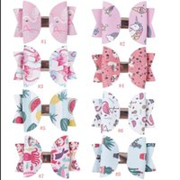 Wholesale artificial flowers for hair bows resale online - 3 Inch Glitter Leather Hair Bows Lovely Cartoon Print Hair Clips For Princess Girls Bowknot Headwear Cute Babygirl Hair Bow