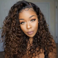 Brazilian Ombre Human Hair Loose Curly Wig 150 Density Ombre Dark Brown Lace Wig Ombre Brown Full Lace Wigs With Dark Roots