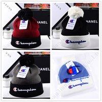 Wholesale knitted ear warmer hat resale online - Champion Knitted Hat Pompon Beanie Designer Audlts Hat Winter Warm Ear Muff Gorro Skull Cap Unisex Casual Crochet Outdoor Ski Caps C9601