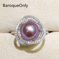 jóias ri venda por atacado-BaroqueOnly Zircon Embutid 925 Anéis Natural Color pérola de água doce 9-10mm Edison Anel Pérola Half-barroco RIRJ moda jóias