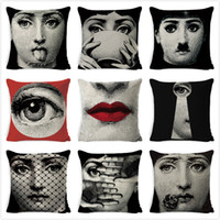 Wholesale pink car cover seats for sale - Group buy Fornasetti Woman Face Cushion Cover European Vintage Style Pillow Cover Sofa Car Home Seat Decora Linen Beige Pillowcase cm