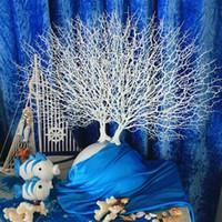 pavo real plastico blanco al por mayor-45 cm Simulación pavo real blanco ramas de los árboles de coral Plantas artificiales de plástico decoración del hogar Boda Decorativo alto Acuario Paisajismo