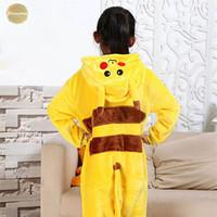 Wholesale champagne full suits resale online - Kids Kugurumi Onesie Animal Costume Soft Whole Pajama One Piece Boy Girl Pikachu Panda Child Winter Sleep Suit