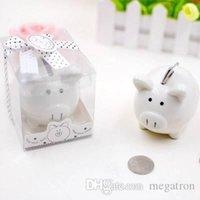 caixa de poupança de banco animal venda por atacado-cerâmica branca Forma Pig Money Saving Box Cents Coins Penny Piggy Bank chuveiro bebê lindo Saving caçoa o presente favor do casamento