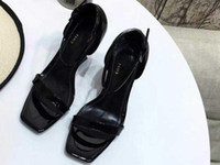 Wholesale super soft soles resale online - 5A Women cm Heel Opyum Sandals Patent Leather Metal Letters Heel Leather Sole Size DHL