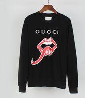 suéteres de labios al por mayor-2019 Europa y la nueva letra LOGO labios rojos labios grandes lengua moda personalidad impresión suéter sección delgada camisa jersey M-XXL
