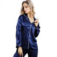 шелковые атласные штаны оптовых-Пижамы пижамы Установить нижнее белье женщин Lady Silk Satin с длинным рукавом на пуговицах Solid Top Брюки Повседневный Пижамы Пижамы