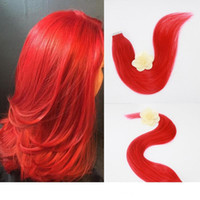 Wholesale multi color hair extension for sale - Group buy Full Hair Popular Multi Colors Red Color Tape in Premium Remy Human Hair Extensions Per Set g Weight Straight Human Hair