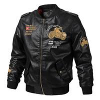 casacos mais legais para homens venda por atacado-Outono jaqueta de couro dos homens impressão bordado manga comprida shorts fit moda casual legal locomotiva jaqueta de beisebol