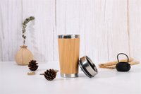 Wholesale bamboo mugs for sale - Group buy 15oz Bamboo Tumbler Bamboo Eco Travel Mug Original Stainless Steel tumbler with Splash Proof Easy Clean Lid