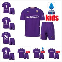 niños púrpura camisetas de fútbol al por mayor-niños Kit de Inicio Fiorentina púrpura camiseta de fútbol 19 20 Florencia Lejos camisa blanca Pjaca SIMEONE fútbol camiseta de fútbol GERSON Pezzella CHIESA