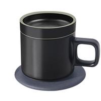 caneca elétrica do aquecimento venda por atacado-55 ° C Cerâmica Isolamento Caneca de Café Inteligente Qi Rápido rápido Sem Fio de Carregamento de Aquecimento Elétrico Copo De Café Canecas