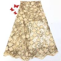 erstaunliches spitzengewebe großhandel-Schöne perlen Französisch spitze textil erstaunliche blume stickerei tüll stoff für dame kleid HNZ71 (5 yards / lot)