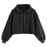 faux pelzart großhandel-2019 koreanischen Stil Sweatshirt Frauen Kunstpelz Kordelzug Herbst Pullover Casual Solid Campus Sudadera Hoodies Sweatshirts für Mädchen