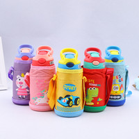 Wholesale hiking water holder for sale - Group buy 350ml oz Cartoon Children Water bottle Stainless Steel Kids Insulated Sippy Cup Outdoor Portable Child Drinking cup with sleeve holder