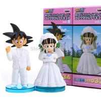 boda de dragon ball al por mayor-Anime Dragon Ball Goku Chichi Boda Pvc Figura de acción Juguetes 8cm Juego de 2 Dbfg040