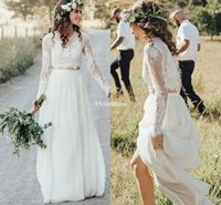Wholesale country wedding dresses two piece for sale - Group buy Bohemain Two Pieces Lace Wedding Dresses Jewel Neck Illusion Long Sleeves Sweep Train Garden Bridal Gowns Country Vestidoe De Noiva Custom