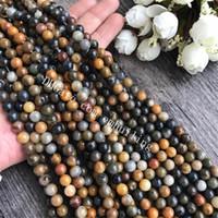 echter achat groihandel-10 Stränge echte versteinertes Holz Achat Perlen natürliche silikifizierte Holz Jade Perlen 8mm 10mm 12mm Pick Größe Runde glatt Edelstein lose Perlen