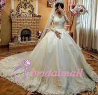 Wholesale long sexy red black wedding dresses online - Robe De Mariage Vintage Ball Gown Wedding Dresses Sheer Long Sleeves African Wedding Bridal Gowns Plus Size Custom Vestido de noiva