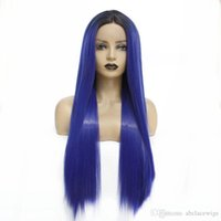 Wholesale celebrity wig for sale - Group buy Celebrity Style Ombre Long Straight Wigs Heat Resistant Soft Synthetic Lace Front Wigs for Black Women