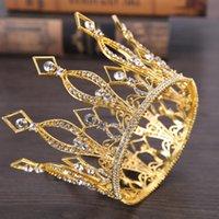 tiaras del desfile de la vendimia al por mayor-Vintage reina rey tiaras corona barroco moda tiaras y coronas desfile tocado princesa diadema cabello accesorios de joyería Y19051302