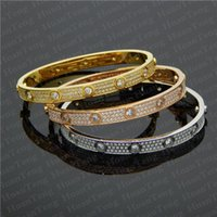 volle diamanten großhandel-Luxus voller Diamanten Edelstahl Armband Mode Damen Herren Designer Liebe vereist Armbänder Stulpearmbänder ohne Schraubendreher Schmuck