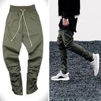 Wholesale pearl designs resale online - Kanye West Pants High Street Mens Casual Pants Zipper Spilt Opening Design Drawstring Pants Sweatpants for Spring Autumn Size