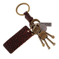 Wholesale vintage leather key ring for sale - Group buy Vintage PU Leather Keychain Alloy Cross Keyring Decoration Pendant Handbag Keychain Hanging Ornaments Decor key ring Chains