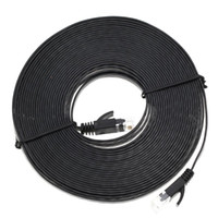 cabo de rede plana cat6 venda por atacado-Remendo Ethernet 1M-10M Plano Cat6 patch cabo de rede Ethernet Cabo Internet de rede RJ45 LAN conector preto