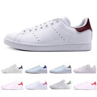 siyah deri eğitici toptan satış-2019 Ucuz Adidas stan smith klasik erkekler woemn Rahat ayakkabı smiths Üçlü siyah beyaz kırmızı altın erkek açık deri spor eğitmeni sneakers