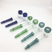 Wholesale blue bubbler pipe for sale - Group buy Thick Mini Handle Glass Pipe Small Hand Smoking Pipe Blue Spoon Bubbler Pipes Spill Proof Smoking Bong