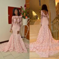 Wholesale dresses apple shape for sale - Group buy Prom Dresses Lace Appliques Sheer Long Sleeves Mermaid Evening Gowns Rose Shape Sweep Train Formal Party Vestido de fiesta
