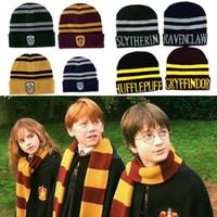 capas cálidas de invierno al por mayor-8style Harry Potter Beanie Hat Gryffindor Slytherin Hufflepuff Ravenclaw Cap Cosplay Rayas Insignia Sombreros Warm Winter Cap MMA2317