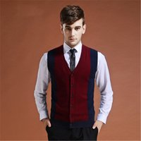 ingrosso maglie rosse di maglione-Maglione Cardigan Buttons Down Knit Jacket Gilet per uomo Sleeveless Wool Moda Fashion Patchwork Red Grey 2018 Winter Sweater