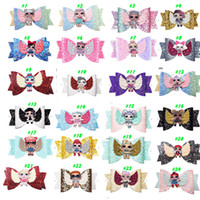 Wholesale barrette hair for sale - Group buy 24 Style LOLS urprise Girls Hairpin Baby Sequin Glitter Bow Clips Girls Bowknot Barette Kids Hair Boutique Bows Children Hair Accessories