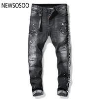 fermuar ince düz kot toptan satış-Avrupa Amerikan Tarzı ünlü marka erkek kot lüks Erkekler düz kot pantolon fermuar delik erkekler için Ince siyah kot