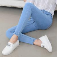 koreanische mädchen schlank großhandel-Frühling und Sommer koreanische hohe Taille vielseitige Jeans Damen Slim Slim Füße elastische lange Hosen Mädchen Bleistifthosen