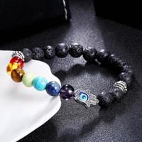 ingrosso braccialetto a mano d'energia-Bracciale chakra in energia lavica da 8 mm Braccialetti con perline colorate unisex Bracciale Mano of Hamsa Fatima