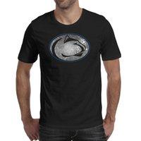 camisa fresca do leão venda por atacado-Mens design de impressão Penn State Nittany Lions futebol velho impressão logotipo preto t shirt design engraçado legal fazer um campeão de hip hop t t camisas sh