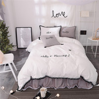 Wholesale full size girl beds for sale - 100 Cotton white grey color girls korean bedding sets bedclothes queen king size duvet cover bed skirt set bed sheet set pillow